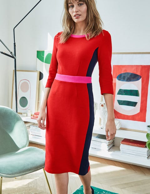 Leah Ottoman Dress - Post Box Red/ Navy