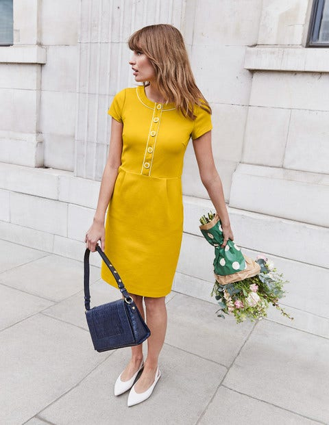 Gracie Ponte Dress - Saffron
