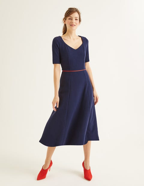 Hadley Ottoman Midi Dress - Navy/Post Box Red
