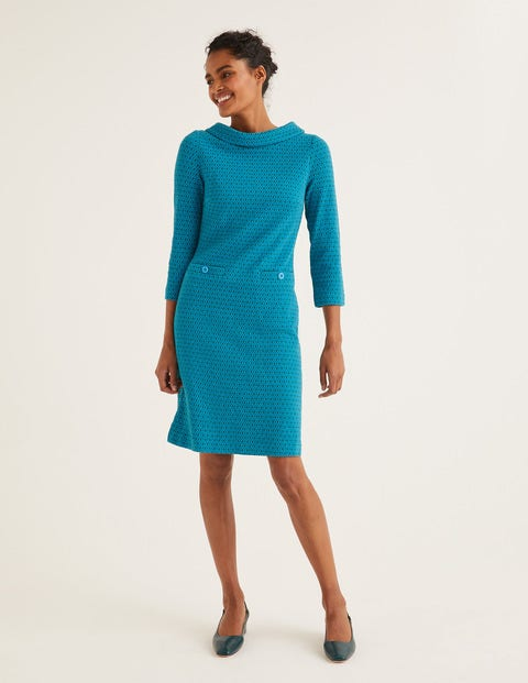 Bessie Jacquard Dress - Blue Lagoon, Ornamental Tile