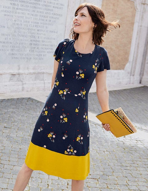 Erica Ponte Dress - Navy, Pretty Bloom