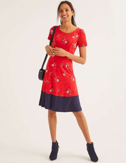 Erica Ponte Dress - Post Box Red, Pretty Bloom