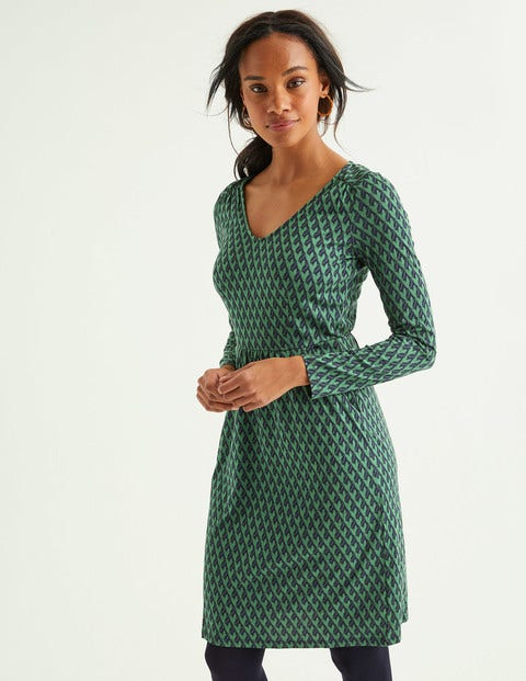 Romilly Jersey Dress - Broad Bean, Leafy Geo