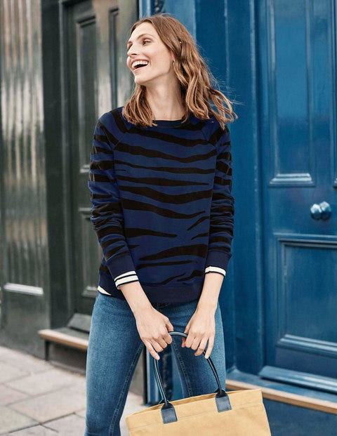 The Sweatshirt - Navy, Flocked Zebra