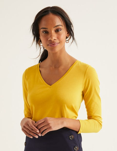 Supersoft V-Neck Tee - Saffron