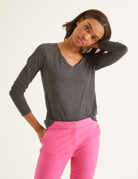 Superweiches T-Shirt mit V-Ausschnitt Grey Damen Boden, Grey