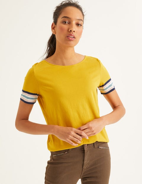 Short Sleeve Striped Cuff Tee - Saffron Multi