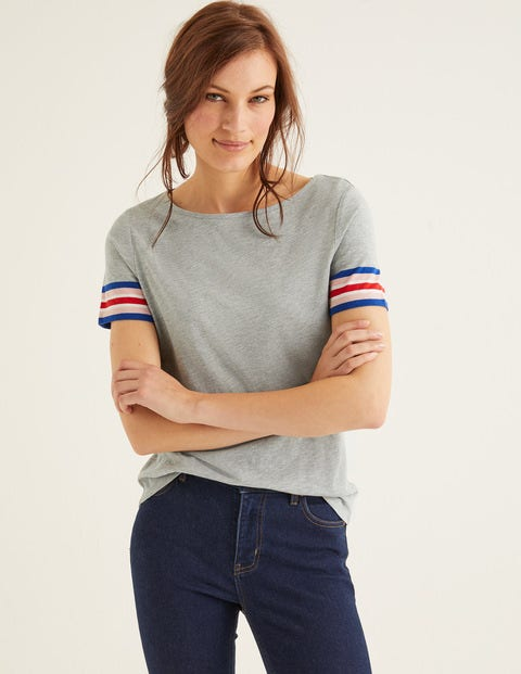 Short Sleeve Striped Cuff Tee - Grey Marl Multi