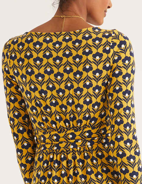 Abigail Jersey Dress - Saffron and Ivory, Petal Head