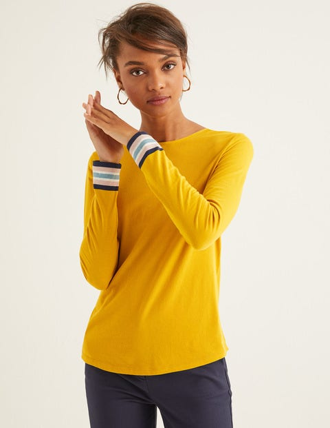 Striped Cuff Tee - Saffron Multi