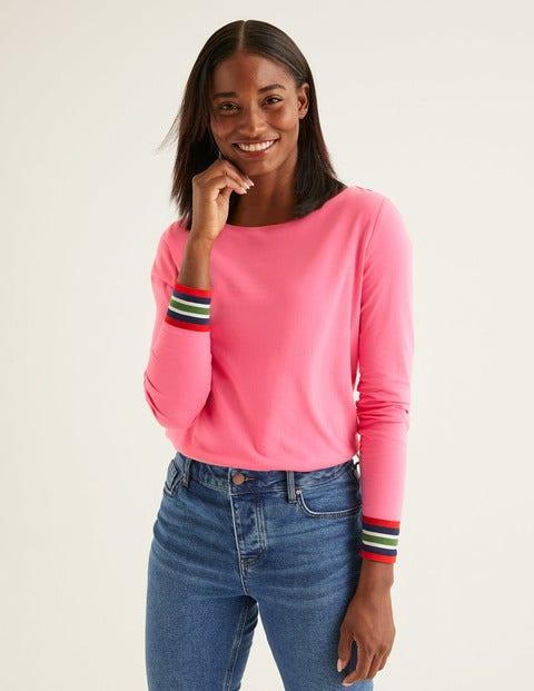 Striped Cuff Tee - Crayon Pink Multi