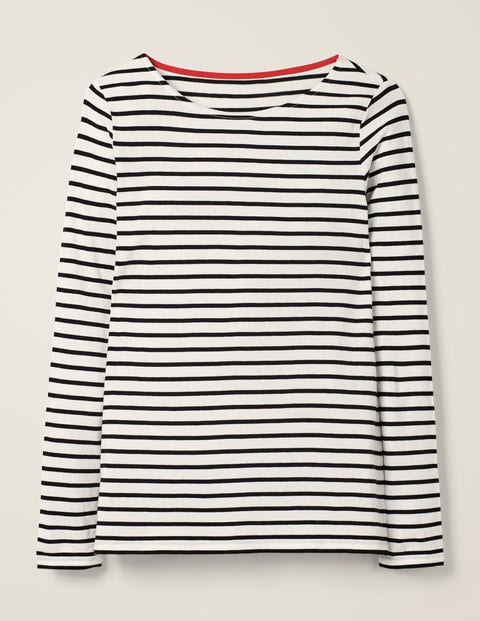 White/Black Long Sleeve Cotton Breton Top