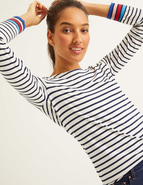Long Sleeve Breton - Ivory Multi Cuff