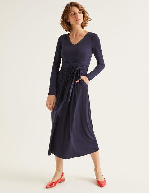 Robe Midi Ferne En Jersey - Bleu marine