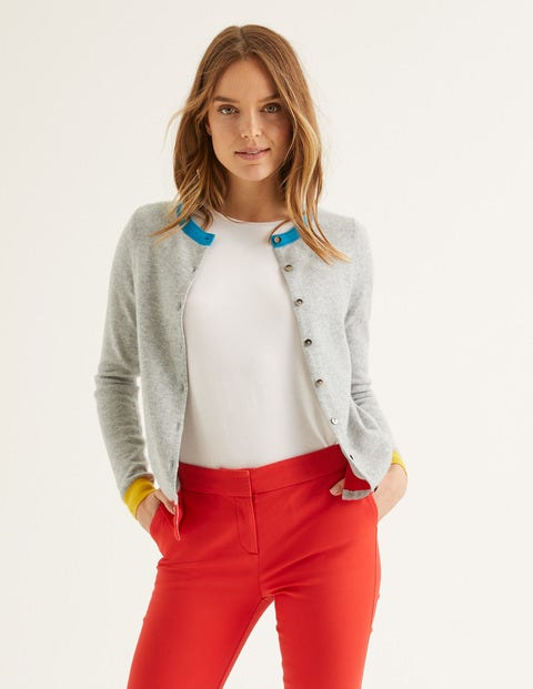Cashmere Crew Cardigan - Grey Melange  Colourblock