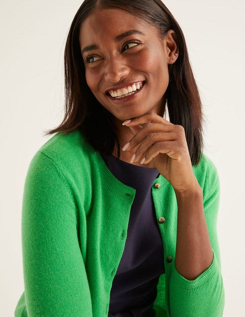 Cashmere Crop Crew Cardigan - Bright Green