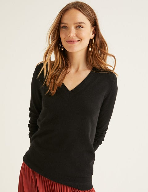 Cashmere Relaxed V-Neck Jumper - Black