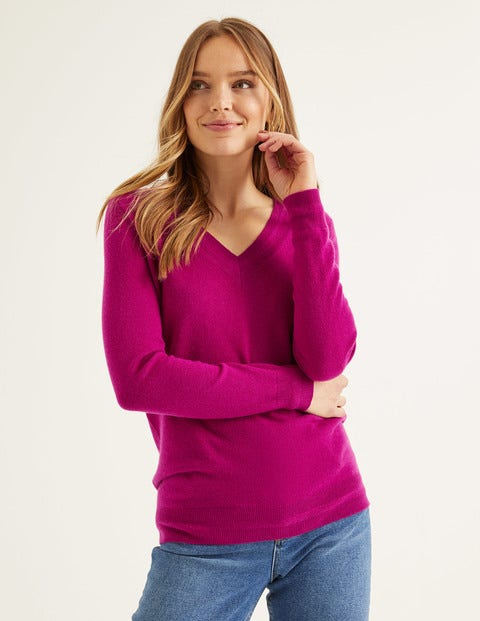Cashmere Relaxed Vneck Sweater - Vibrant Plum