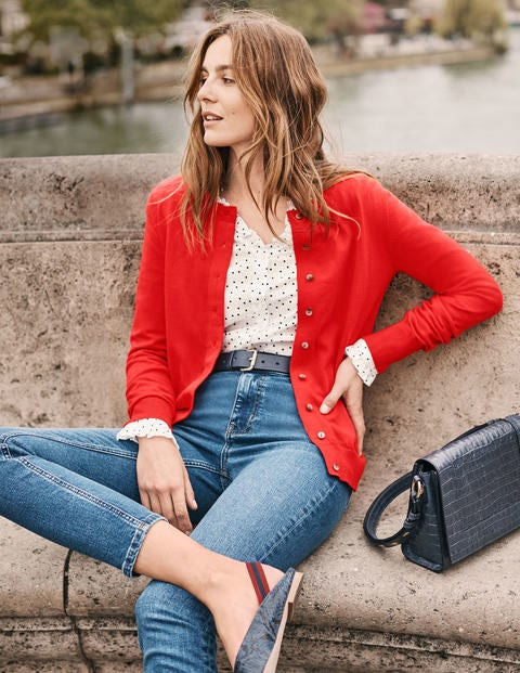 Amelia Crew Cardigan - Post Box Red