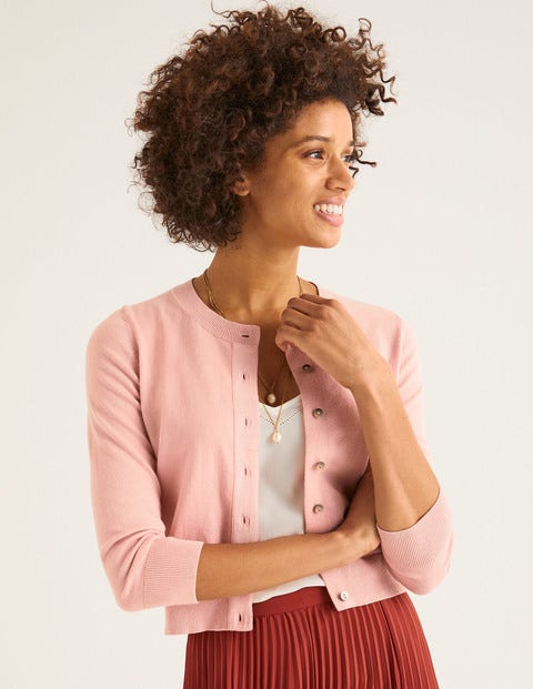 Amelia Crop Cardigan - Chalky Pink