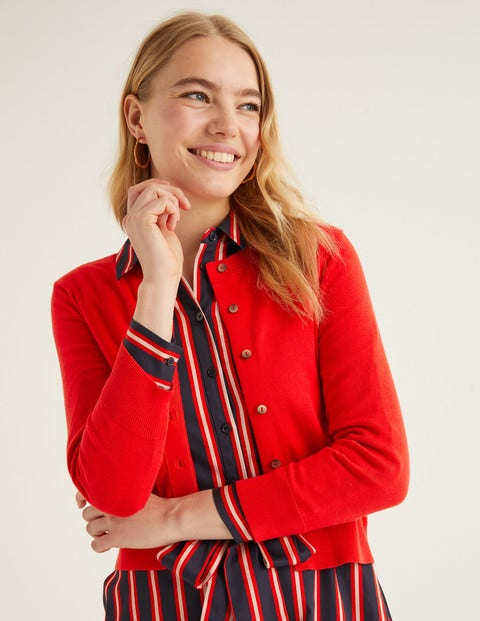 Amelia Crop Cardigan - Postbox Red