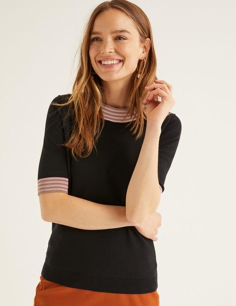 T-Shirt En Maille À Détail Coloré - Noir