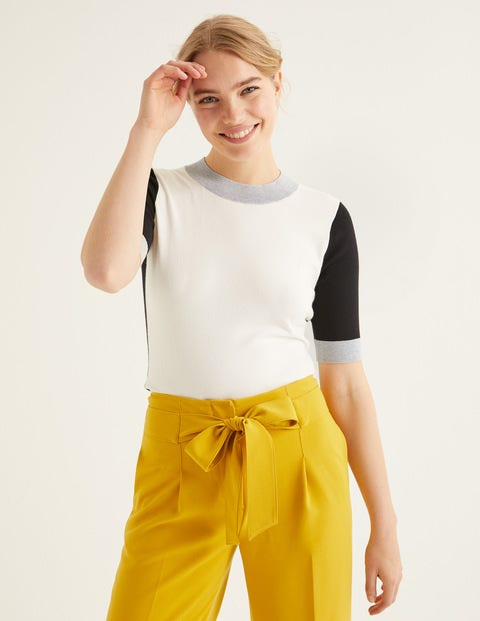 Rachel Knitted Tee - Ivory Colourblock