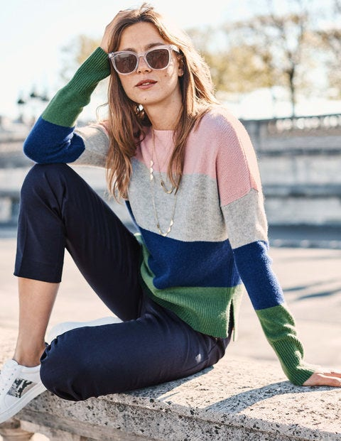 Melinda Cashmere Sweater - Chalky Pink Colourblock Stripe