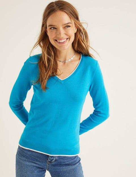 Elina V-Neck Sweater - Blue Lagoon/Navy Tipping