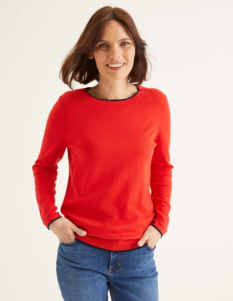 Elina Jumper - Postbox Red/Navy Tipping
