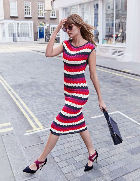 Opal Dress - Navy Multi Stripe
