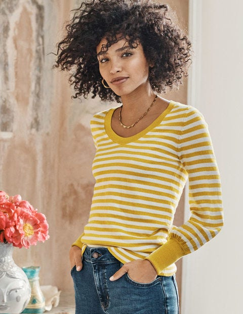 Bernice Sweater - Ivory/Saffrom Stripe