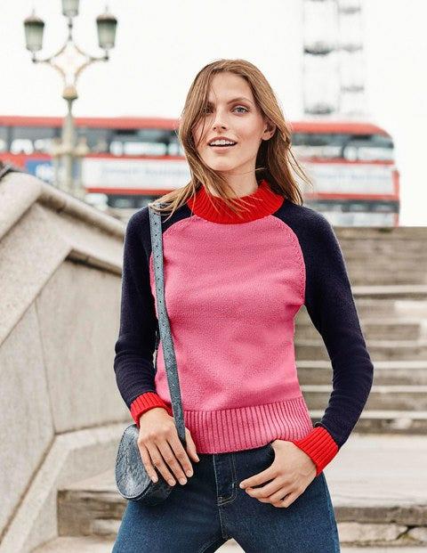 Flora Jumper - Crayon Pink/Navy Colourblock
