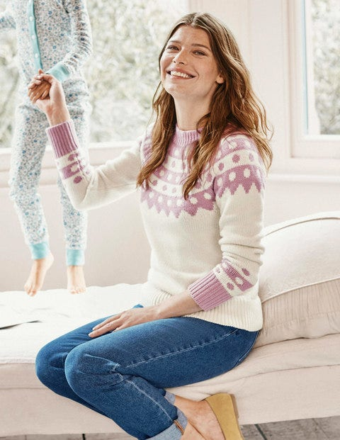 Rhea Fair Isle Sweater - Ivory/Pale Pink