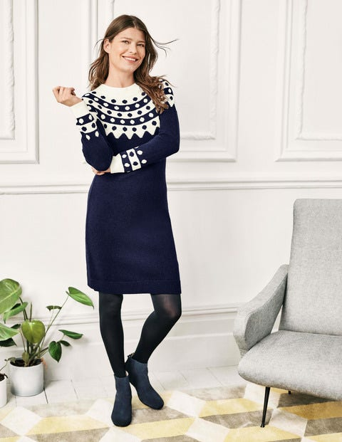 Rhea Fair Isle Dress - Navy/Ivory