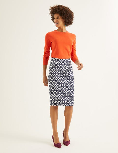 Richmond Pencil Skirt - Navy, Petal Sprig