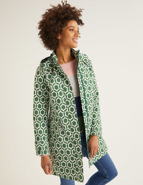 Suki Waterproof Coat - Broad Bean, Ornamental Tile