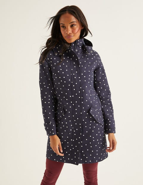 Suki Waterproof Coat - Navy/Ivory Spot