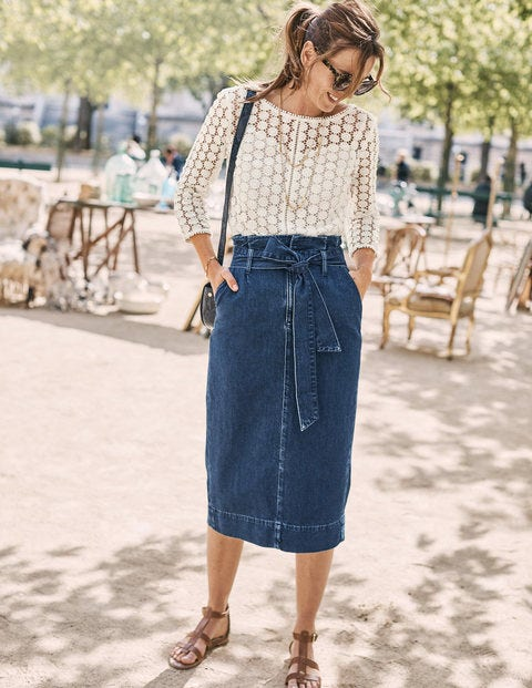 Jupe Taille Froncée Cara En Jean - Vintage moyen