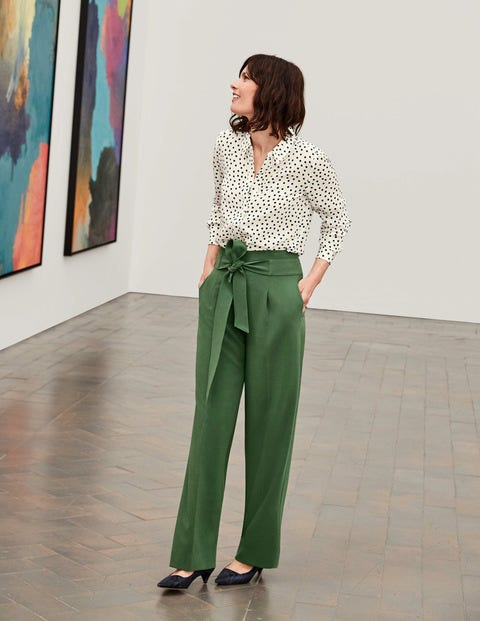 Ketton Wide Leg Pants - Broad Bean