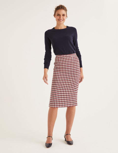 Clara Pencil Skirt - Red/Navy Windmill