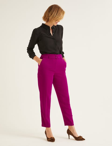 Christina Belted Pants - Vibrant Plum