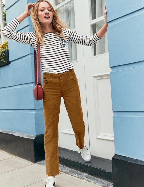 Cord Slim Straight Jeans - Gingerbread