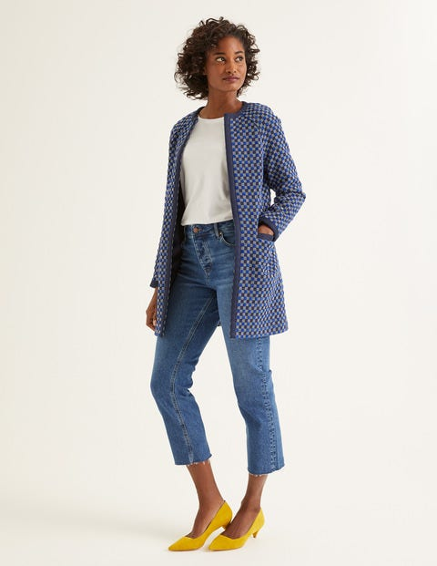 Eliot Coat - Blue Wave/Navy Check