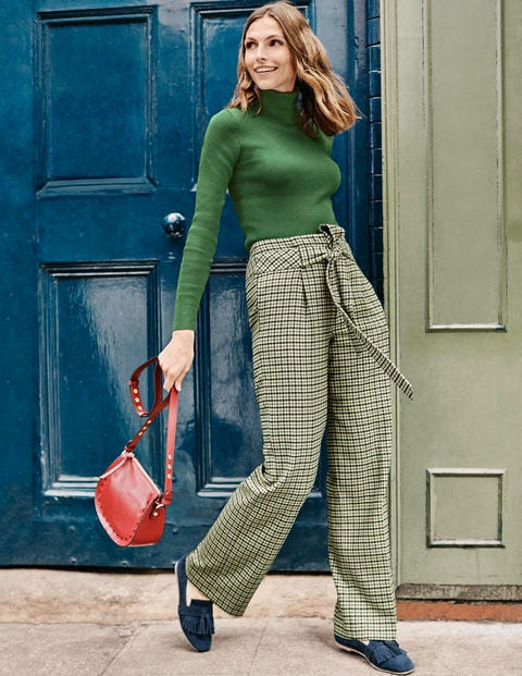 Tweed Tie Waist Trousers - Green/Ivory Check
