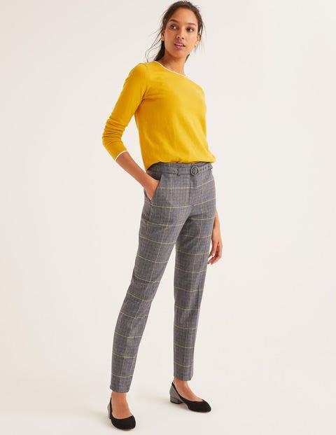 Malden Tweed Trousers - Navy, Yellow Overcheck