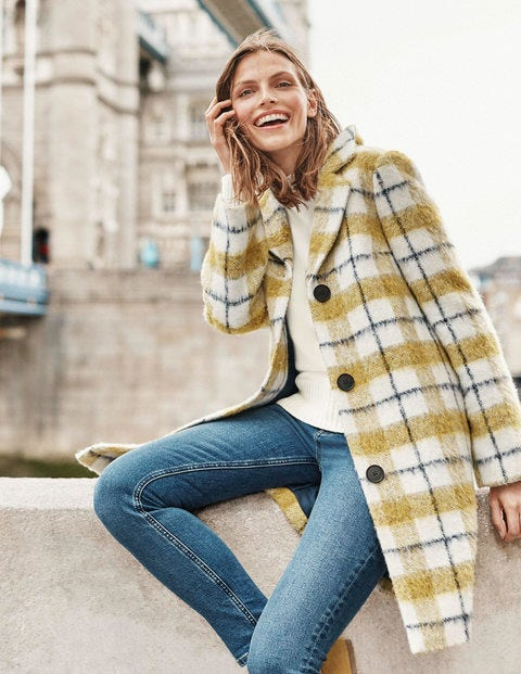 Twin Placket Coat - Yellow/Ivory Check