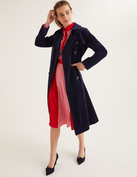 Vintage Coats & Jackets | Retro Coats and Jackets Markham Cord Trench Coat Navy Women Boden Navy £170.00 AT vintagedancer.com
