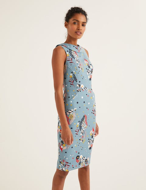Seam Detail Martha Dress - Heritage Blue, Whimsical