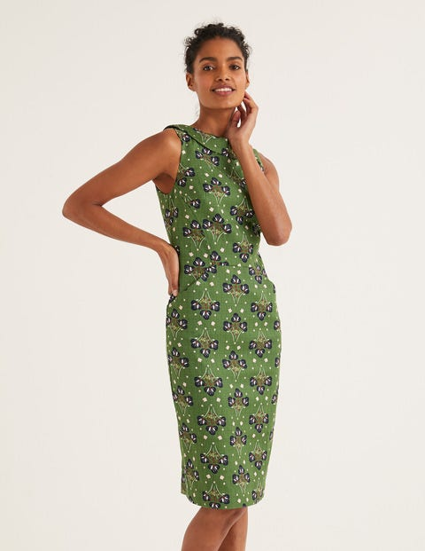 Seam Detail Martha Dress - Broad Bean Star Bouquet